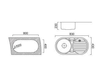Мивка алпака двукоритна кръгла за вграждане W8343