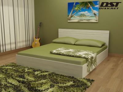 Спалня Киара цвят корпус бял дъб с включен матрак 164/190 Икономик