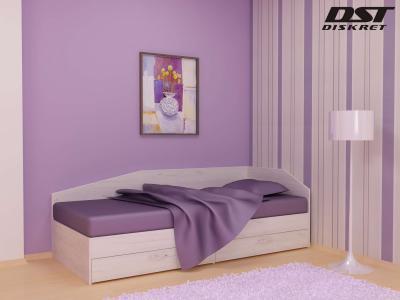 Легло Криси цвят корпус бял дъб - 120см с чекмеджета